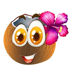 Coconut with happy face vector