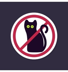No ban or stop signs halloween black cat icon vector