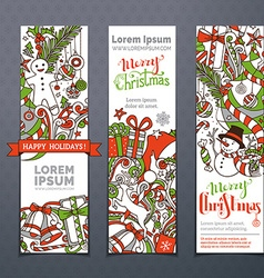 Set of hand-drawn christmas banners vector