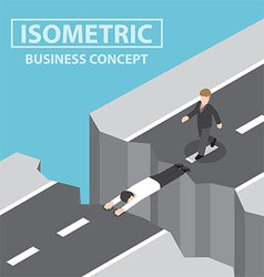 Businessman use himself as a bridge to pass a gap vector