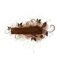 Brown floral grunge banner vector