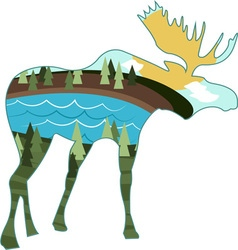 Landscape moose vector
