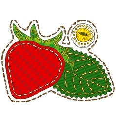 Isolated patchwork strawberry vector
