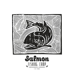 Linocut with a picture of salmon vector