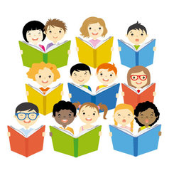 Group of children reading vector