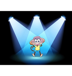 A happy monkey at the center of the stage vector image