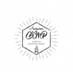Autumn camp- calligraphic lettering badge label vector