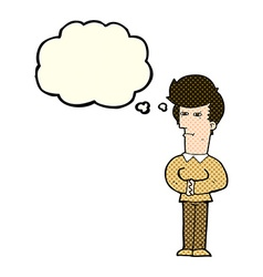 Cartoon man narrowing his eyes with thought bubble vector