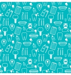 Dental seamless pattern White linear icons Blue vector image