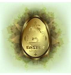 Easter egg with rabbit in basket vector