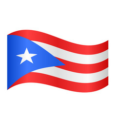 Flag of puerto rico waving on white background vector