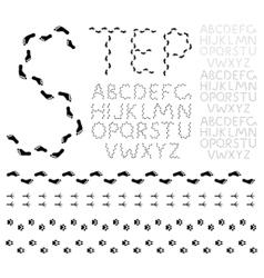footprint alphabet vector image vector image