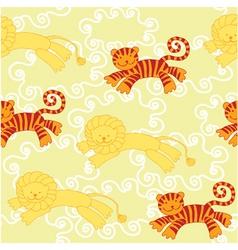 lion tiger pattern vector image vector image