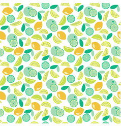 Pattern with lime lemon and orange slices vector
