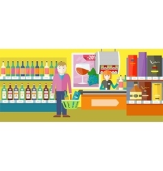 Person Buys Alcoholic Drinks in Elite Wine Shop vector image