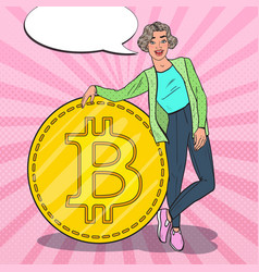 Pop art successful woman with big bitcoin vector