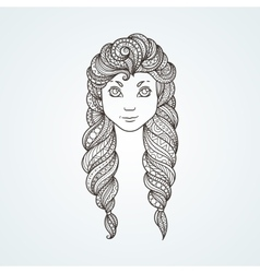 Portrait of a cute long-haired girl with braids vector