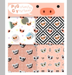 Set of animal seamless patterns with piggy 2 vector image vector image