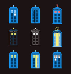 Set of british police boxes london public call vector