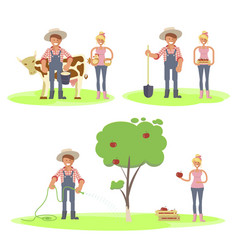 Set of farmers family vector