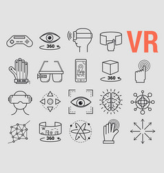Set of line icons - virtual reality vector