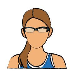 Sport woman wearing smart glasses vector