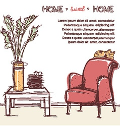 Sweet home card hand drawing vector image vector image