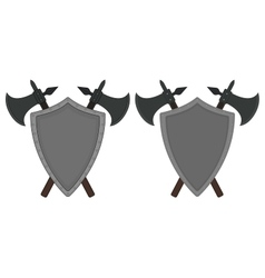 Two crossed axes and steel shield heraldry emblem vector image
