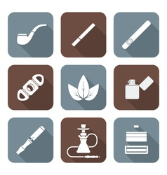 white color flat style various tobacco goods tools vector image vector image
