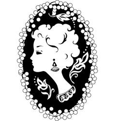 Woman camea vintage profile vector image vector image