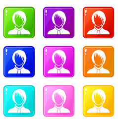 Woman icons 9 set vector