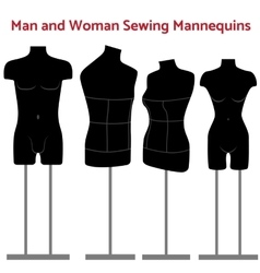 Female and man body mannequin set vector