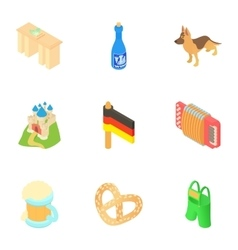 Holiday in germany icons set cartoon style vector
