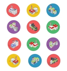 Isometric building factory icons with shadow - vector