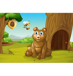 A bear and a bee near a treehouse vector image