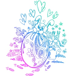 Ornate egg and easter bunnies vector