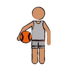 drawing character player basketball vector image