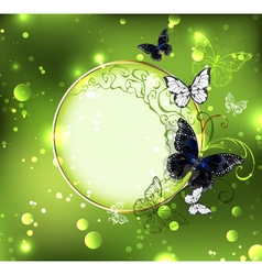 Round Banner of Green Background vector image