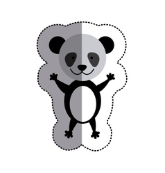 Color sticker with panda and middle shadow vector
