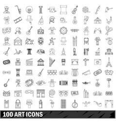 100 art icons set outline style vector