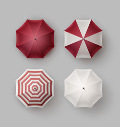 Set of white red opened umbrella parasol sunshade vector