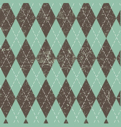 Argyle seamless aged pattern blue and brown vector