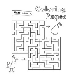 Cartoon chicken maze game vector