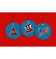 Hanging patriotic US badges vector image
