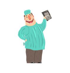 cartoon smiling dentist character holding xray vector image