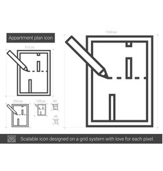 Apartment plan line icon vector