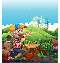 A lumberjack wearing a cap walking near the stump vector image