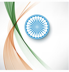 Indian flag color creative wave background with vector