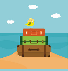 Summer time of little bird vector