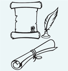 Parchment scroll and feather vector